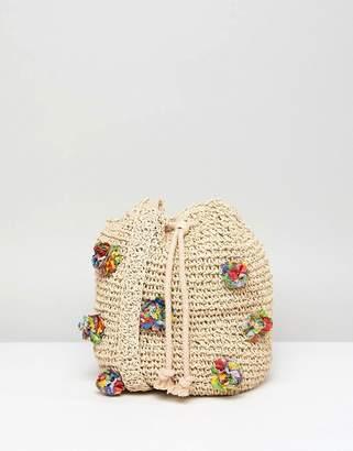 Pull&Bear Pom Pom Woven Bag In Cream