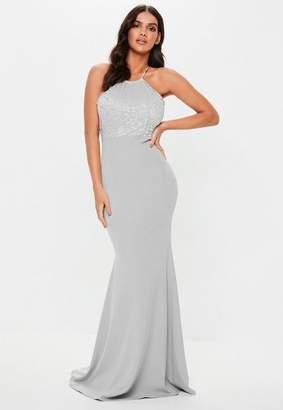 Missguided Tall Bridesmaid Gray Scallop Trim Maxi Dress