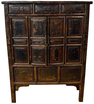 One Kings Lane Vintage Antique Brown Lacquer Chinese Cabinet