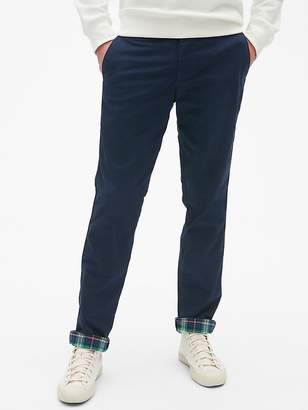 Gap Flannel-Lined Khakis in Slim Fit with GapFlex