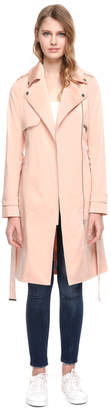 Soia & Kyo ATHENA belted knee-length stretch cotton coat with flaps