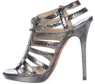 Jimmy Choo Snakeskin Open-Toe Sandals