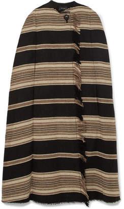 Isabel Marant Huan Fringed Striped Wool-blend Cape - Black