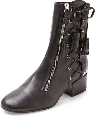 Laurence Dacade Marcella Side-Lace Leather Boots, Black