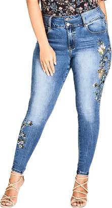 City Chic Floral Love Embroidered Skinny Jeans