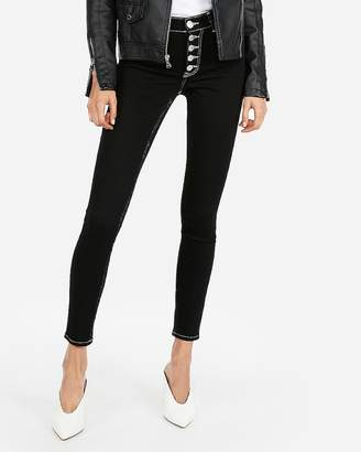 Express High Waisted Black Button Fly Stretch Jean Leggings