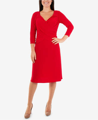 NY Collection Cross-Front Fit & Flare Dress