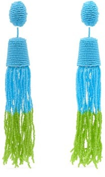 Vanda Jacintho - Beaded Drop And Tassel Earrings - Womens - Blue Multi
