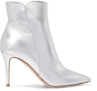 Metallic Silver Leather Boots Women Shopstyle