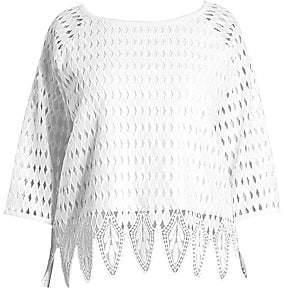 Joan Vass Women's Plus Crocheted Blouse