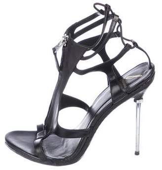 Brian Atwood Leather Zip-Up Sandals