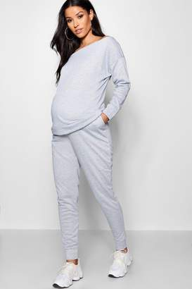 boohoo Maternity Raw Edge Bardot Lounge Set