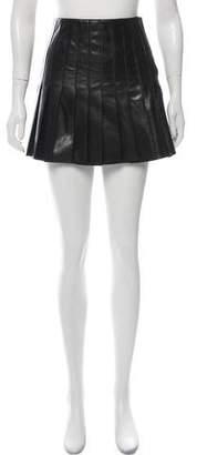 Belstaff Leather Pleated Mini Skirt