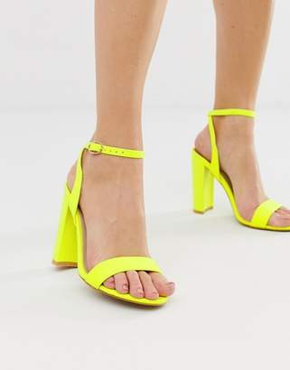 6d1a6123d80 Glamorous neon yellow barely there block heeled sandals