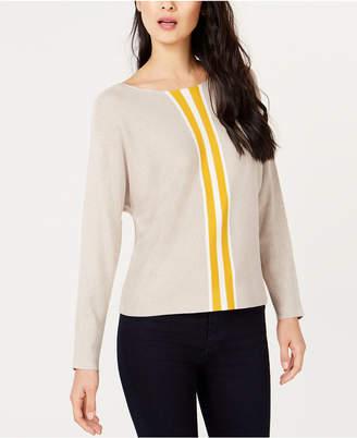 INC International Concepts I.n.c. Petite Varsity Stripe Sweater
