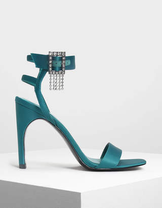 Charles & Keith Crystal Embellished Buckle Heeled Sandals
