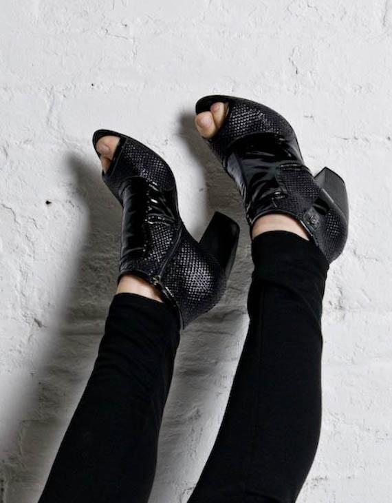 Kaylee Tankus Black Peep Toe Bootie