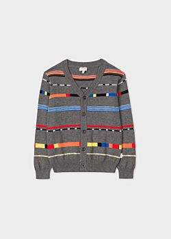 Boys' 8+ Years Grey Mixed-Stripe Cardigan
