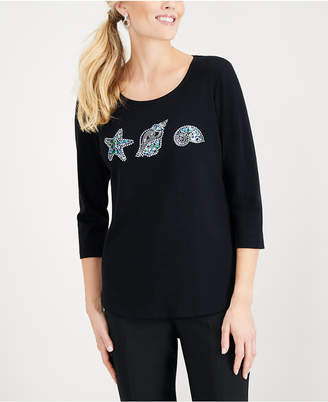 Karen Scott Petite Cotton Embellished Seashell Top