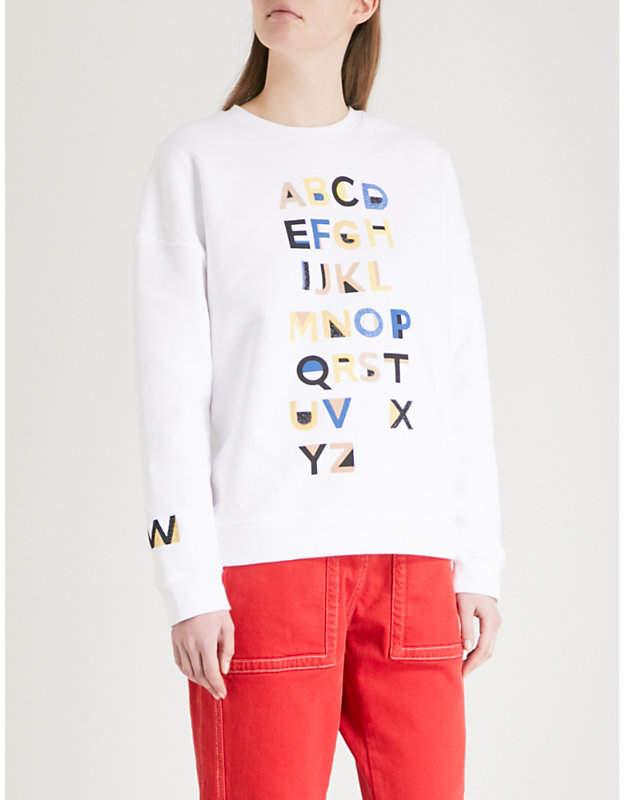 Alphabet embroidered cotton-jersey sweatshirt