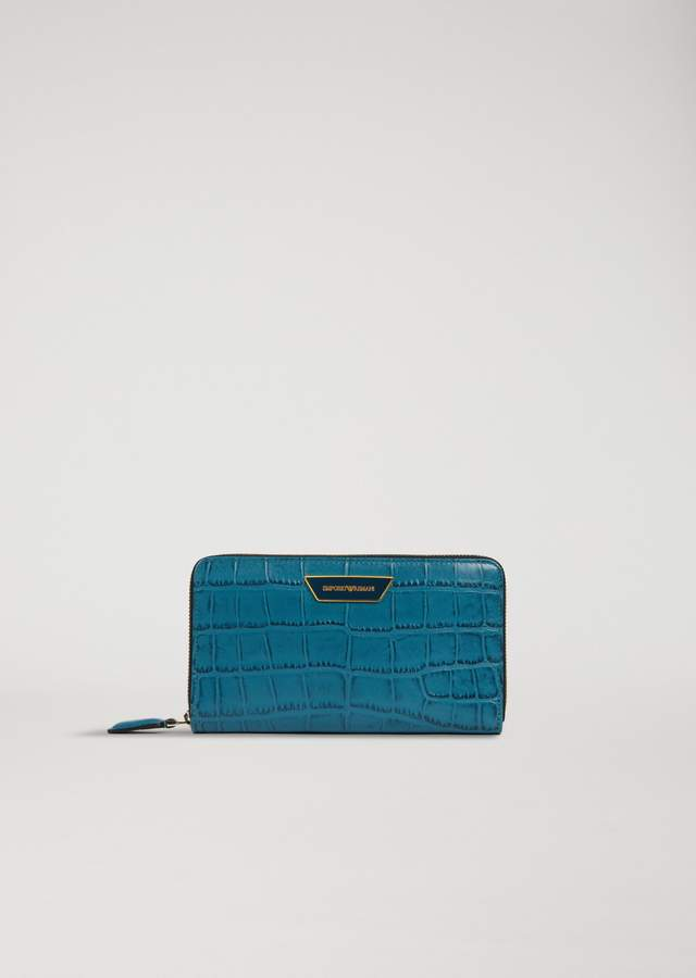 EMPORIO ARMANI zipped wallet in croc print leather