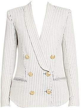 Balmain Women's Stripe Double-Breasted Pyjama Jacket