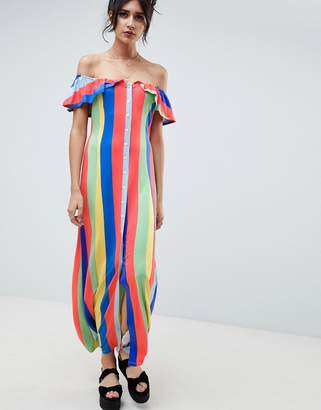 Asos DESIGN off shoulder button through maxi sundress in stripe