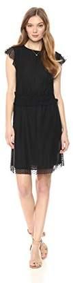 Ella Moon Women's Sleeveless Ruffle Shoulder Smocked Waist Mini Dress