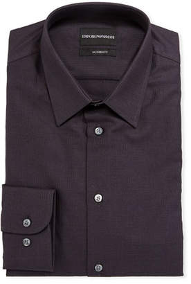 Emporio Armani Men's Modern-Fit Textured Cotton Dress Shirt