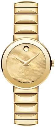 Movado Sapphire Analog Mother-of-Pearl Goldtone Bracelet Watch