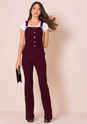 Missy Empire Missyempire Lorelei Wine Ribbed Flared Dungarees