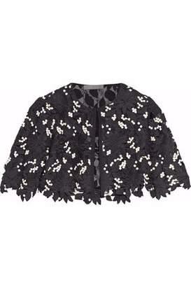 Lela Rose Cropped Embroidered Guipure Lace Jacket