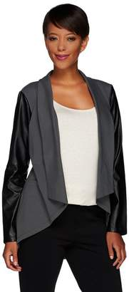 Women With Control Women with Control Knit Jacket with Faux Leather Sleeves