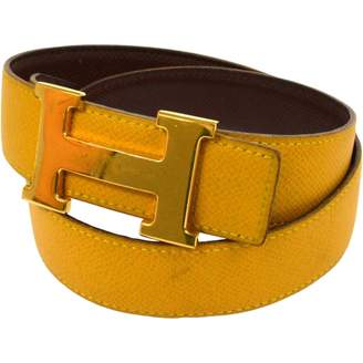 Hermes H Yellow Leather Belts