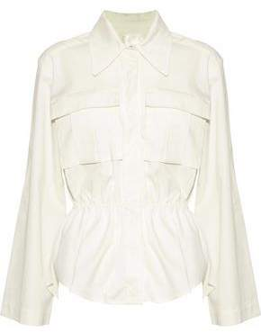 SOLACE London Gala Gathered Cotton-Poplin Shirt