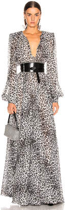 Redemption Leo Puff Sleeve Dress in Grey Leopard Print | FWRD