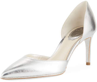Rene Caovilla 75mm Metallic Leather Pumps with Crystal Trim
