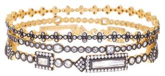 Freida Rothman 14K Gold & Rhodium Plated CZ Baguette Bar Bangles - Set of 3