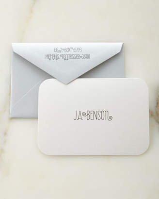 Carlson Craft White Shimmer Personalized Cards with Personalized Envelopes