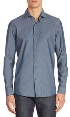 Ermenegildo Zegna Men's Dobby-Woven Long-Sleeve Shirt - Navy - Size Small