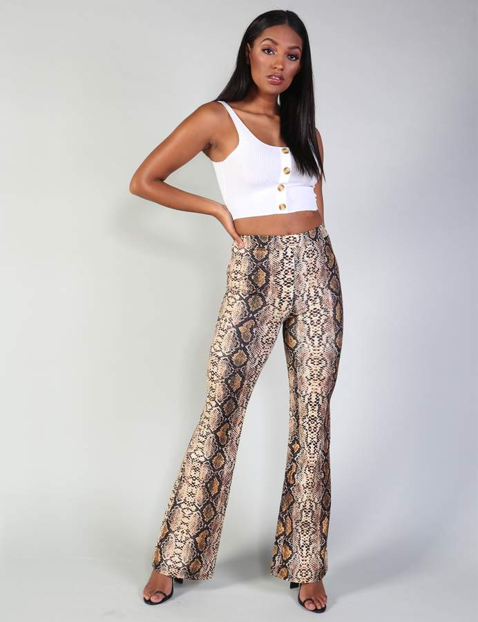 Mustard Snake Print Flare Trousers