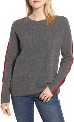 Velvet by Graham & Spencer Stripe Sleeve Cashmere Sweater