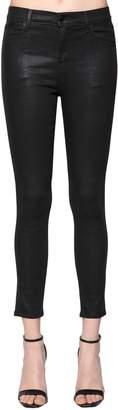 J Brand Skinny Alana Coated Cotton Denim Jeans