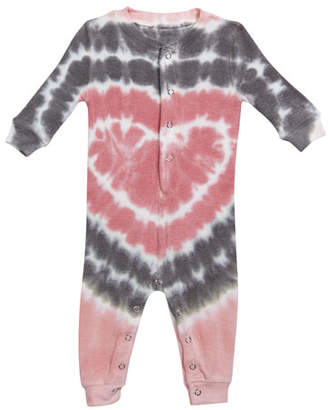 PJ Salvage Girl's Heart Tie Dye Print Sleep Coverall, Size 3-18 Months