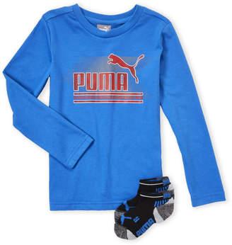 Puma Boys 4-7) Two-Piece Blue Logo Tee & Socks Set
