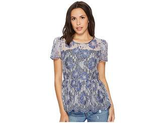 Kensie Chambray Lace Top KS1K4659 Women's Clothing