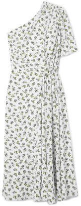 Emilia Wickstead Kyle One-shoulder Floral-print Crepe Midi Dress - White