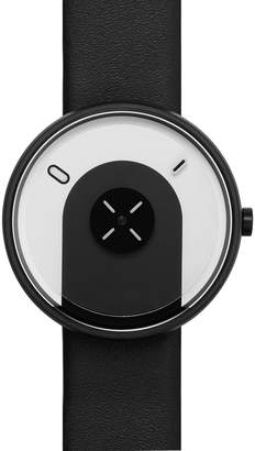 Projects Watches Overlap Black Stainless Steel & Leather Watch