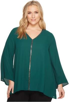 Karen Kane Plus Plus Size Sparkle Flare Sleeve Top Women's Clothing