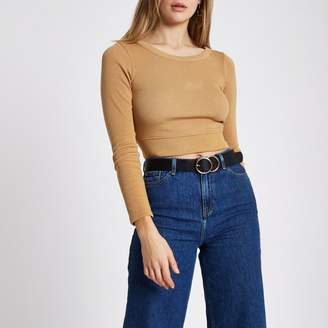 River Island Womens Tan long sleeve crop top
